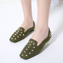 Buy Superstar shoes 2017 Spring new fashion rivets Star ballet flats ladies shoes casual Square head slip shoes flat shoes women for $26.76 in AliExpress store