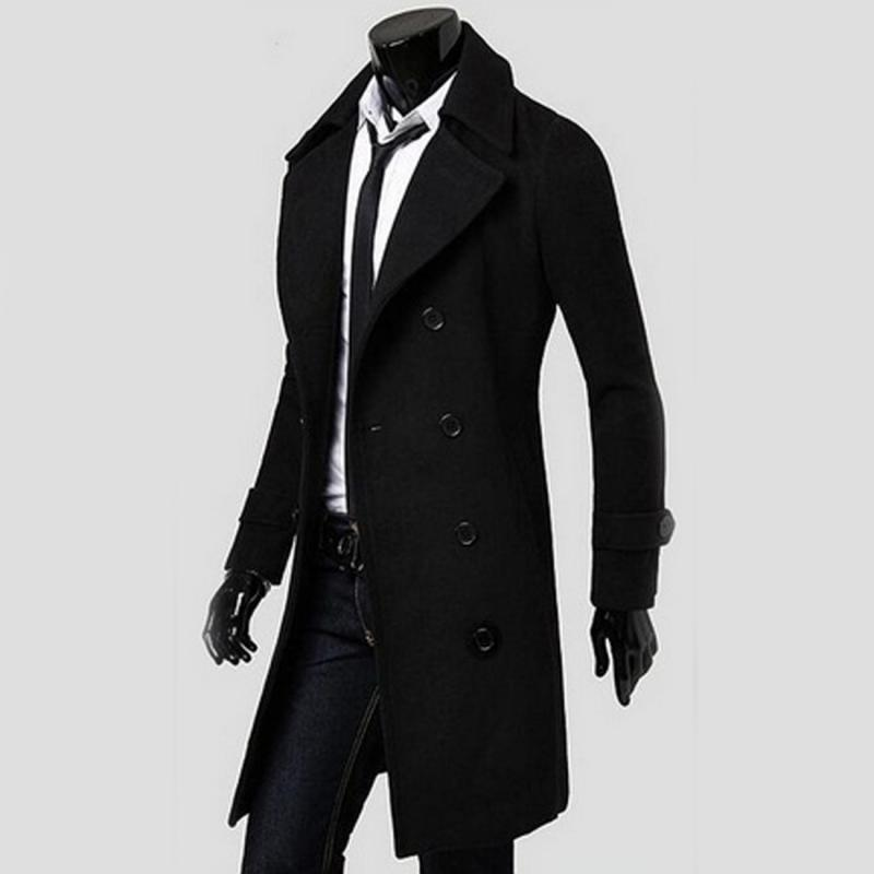 87757d376 2019 Wholesale 2016 Cool Men Double Breasted Overcoat Outwear Trench ...