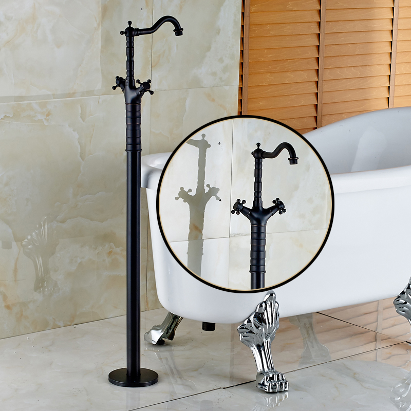 Oil Rubbed Bronze Dual Cross Handles Floor Mount Bathroom Bathtub Faucet Free