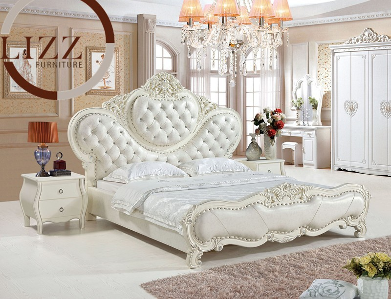 Australia Home Queen Size Oak Leather Bed A808# |hot sale bedroom furniture King size leather soft bed large soft leather bed(China (Mainland))