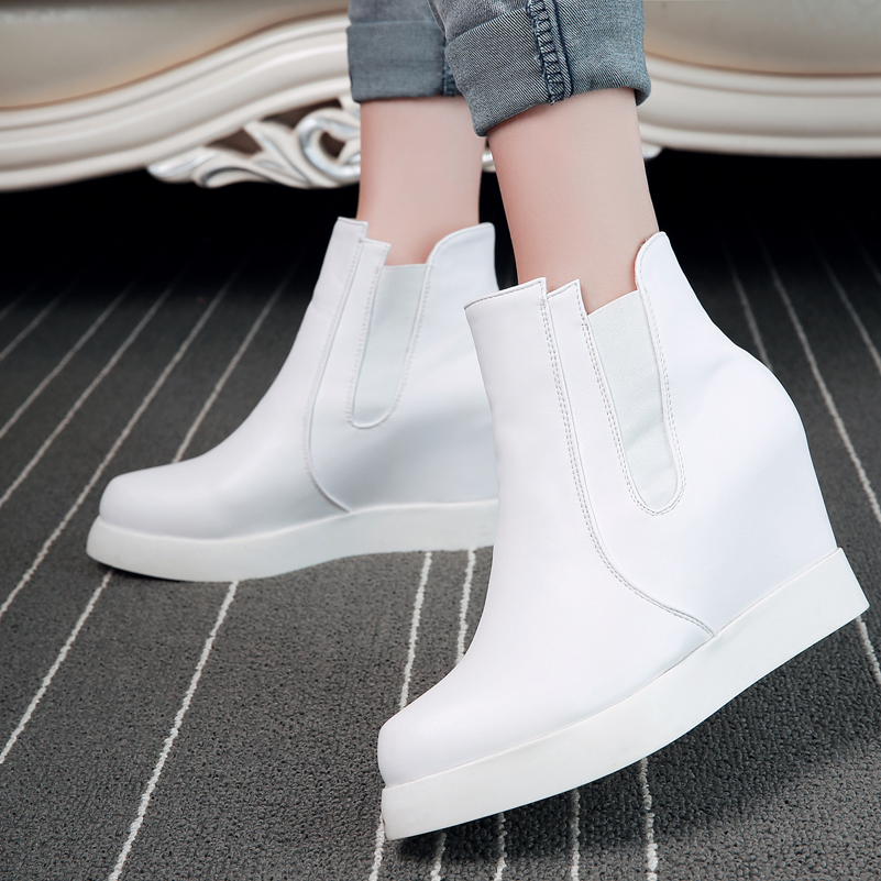 Fashion Women Boots High Heel 2016 Zip Ladies High Heel Boots pu Leather Ankle autumn Boots For Women Shoes white Red Black(China (Mainland))