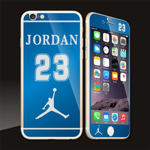 10pcs/lot For iphone6/6splus Mirror Plating Jordan 23 Front Back Screen Tempered Glass Film Phone Protector Skin Cover Sticker