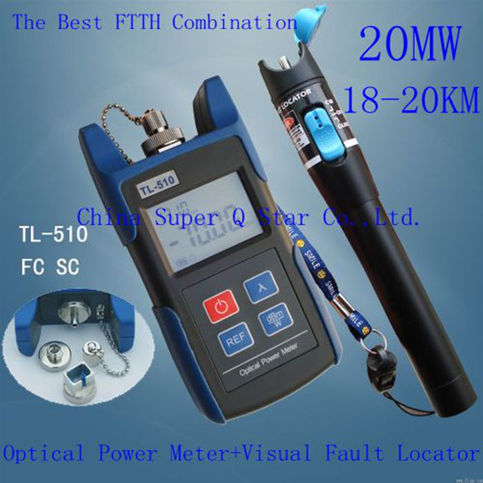 1Set FTTH Kit -70~+10 Optical Power Meter with FC SC ST Connector +20mW Red Laser Fiber Optic Cable Tester (Range: 18-20km)(China (Mainland))