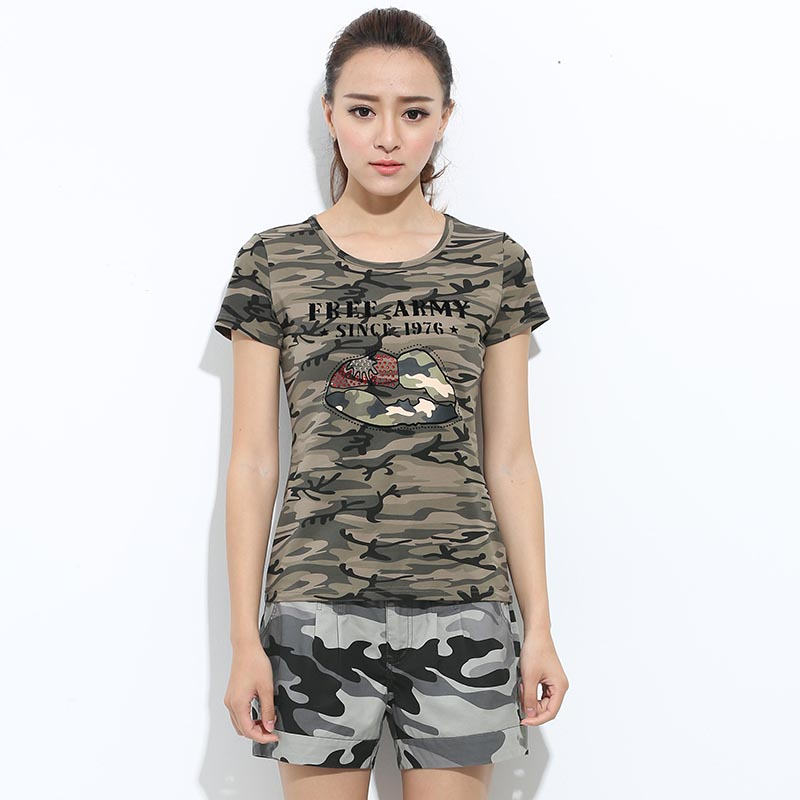 Brand New fashion camouflage print t shirt womens slim tops army green casual short-sleeved t shirts for girls P6(China (Mainland))