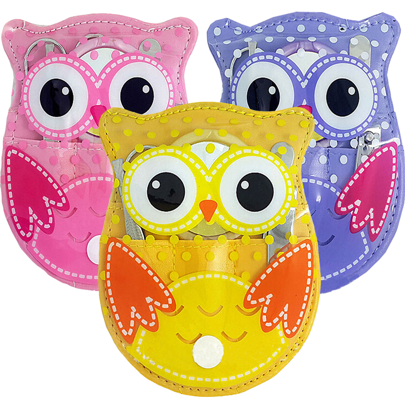 5Pcs/1Set Cute Owl Manicure Set Nail Art Tools Nail Scissors File Clipper Eyebrow Tweezer Trimmer Professional Pedicure Nail Kit(China (Mainland))