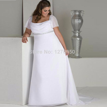 Hot Sale Cap Sleeves Empire Waist Chiffon Long Plus Size Wedding Dress Maternity Bridal Gowns For Pregnant 2016(China (Mainland))