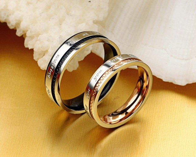 OPK JEWELRY 316L Stainless Steel Rings  Circle  18K gold Plated Shiny  Wedding Rings wholesaler