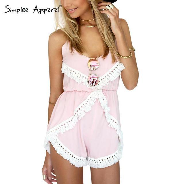 Simplee Одежда Boho кисточкой розовый лето комбинезон ползунки Женщины спинки узелок ...