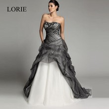 Fashion Black And White Gothic Wedding Dresses 2016 Vestido de noiva Ball Gown Strapless Ruffles Sexy Bridal Dress Lace Up(China (Mainland))
