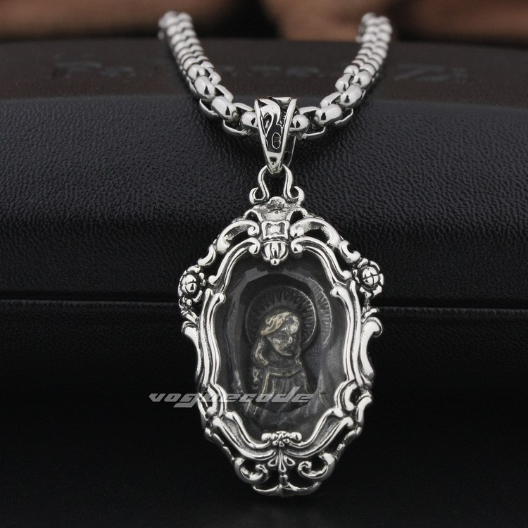 Glass-Covered Virgin Mary JESUS 925 Sterling Silver Pendant 8P001_#24<br><br>Aliexpress