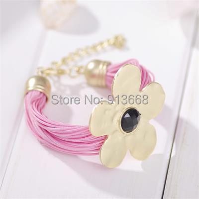 Fashion flower bracelet leisure leather hand woven rope fresh flowers female bracelets for women hot Summer Bracelets & Bangles(China (Mainland))