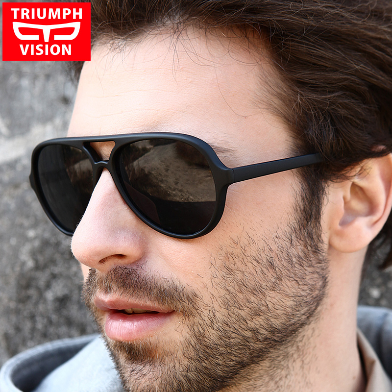 TRIUMPH VISION Black Aviator Sunglasses Men 2017 Brand Shades Oculos Male Original Pilot Sun Glasses For Men Fashion New Glasses(China (Mainland))