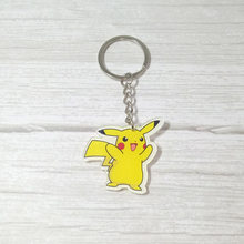 Novo design Personalizado chaveiro Anime Figura Pokemon pikachu Ir Monstros de Bolso Dos Desenhos Animados chaveiro chave anel Chave da cadeia de Acrílico Pingente(China)