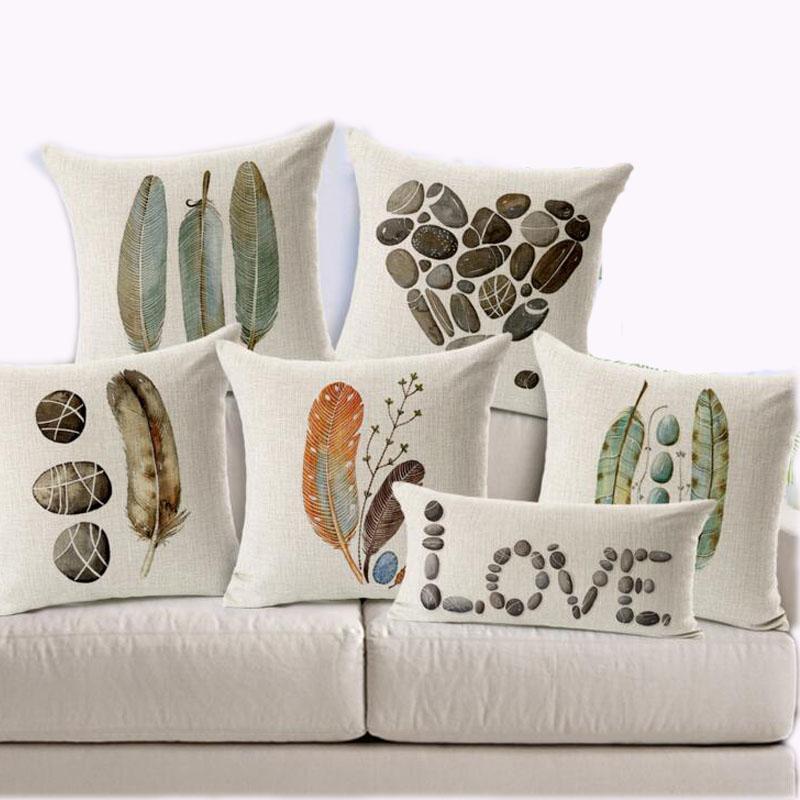 Custom Decorative Pillow Covers : 45X45cm Feather Stone Custom Pillow Covers Candy Color Throw Pillows Cases Flower Decorative ...