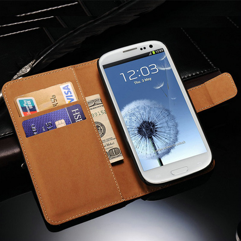 Coque Luxury Wallet Genuine Leather Flip Case For Samsung Galaxy SIII S3 S3 Mini I9300 i9305 I8190 Back Cover With Card Holder(China (Mainland))