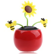 Fashion Solar Energy Shaking Sunflower Toy Mix-color House Decoration Christmas Friends & Family Gifts Solar Environmental Toys(China (Mainland))