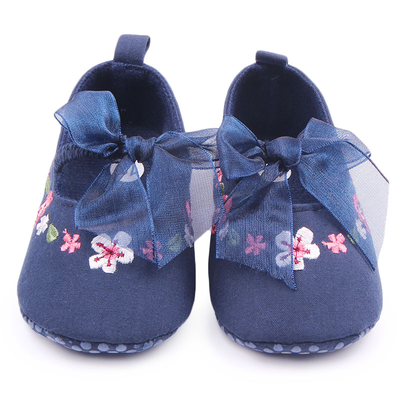 New Arrival Hand Embroidery Flower Design Butterfly-Knot Baby Newborn Shoes For Girls 0-12M(China (Mainland))