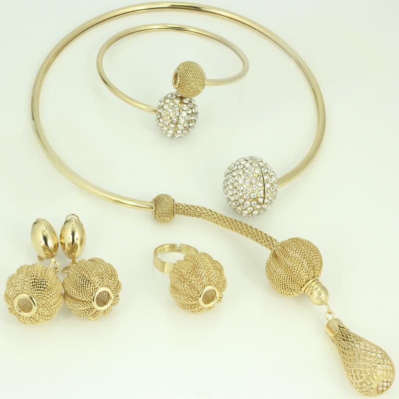 2016 Hot sales Dubai African 18K gold plated Jewelry Watkins lantern Necklaces Bracelet Earrings Ring Wedding Jewelry sets