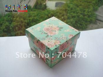 50pcs/lot   Free shipping Light Pink Flower Wedding DIY Paper Gift Jewelry Candy Box   #441