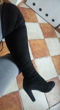 Đùi Cao Cấp Giày Bốt Nữ Da Lộn Trên Đầu Gối Giày Cao Gót Gợi Cảm Đảng Cưới Overknee Giày Thu Đông Màu Đen màu Xám(China)