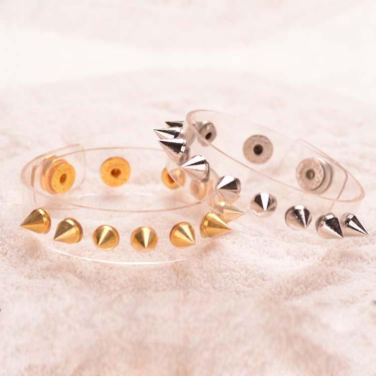 Spike Transparent PVC Wristbands Clear Plastic Bracelet Party Hand Jewelry Punk Style Rivet Bracelet(China (Mainland))