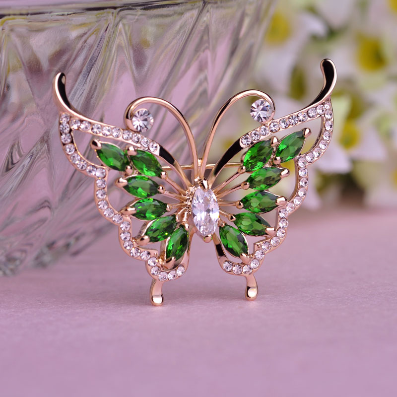 Fashion Green Rhinestone Butterfly Brooch Prong Setting Crystals 18K Gold Plated Wedding Corsage Brand Women Hats