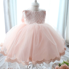 New 2016 Fshion Flower Girl Dress Kids Clothing Party Wedding Birthday Girls Dresses Baby Girl White Pink Rose Dress