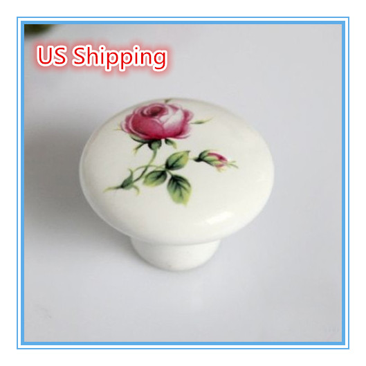 US Shipping 20pcs Kids Knob printing Rose Flower Ceramic knob handle Kitchen Furniture cabinet drawer pulls(China (Mainland))