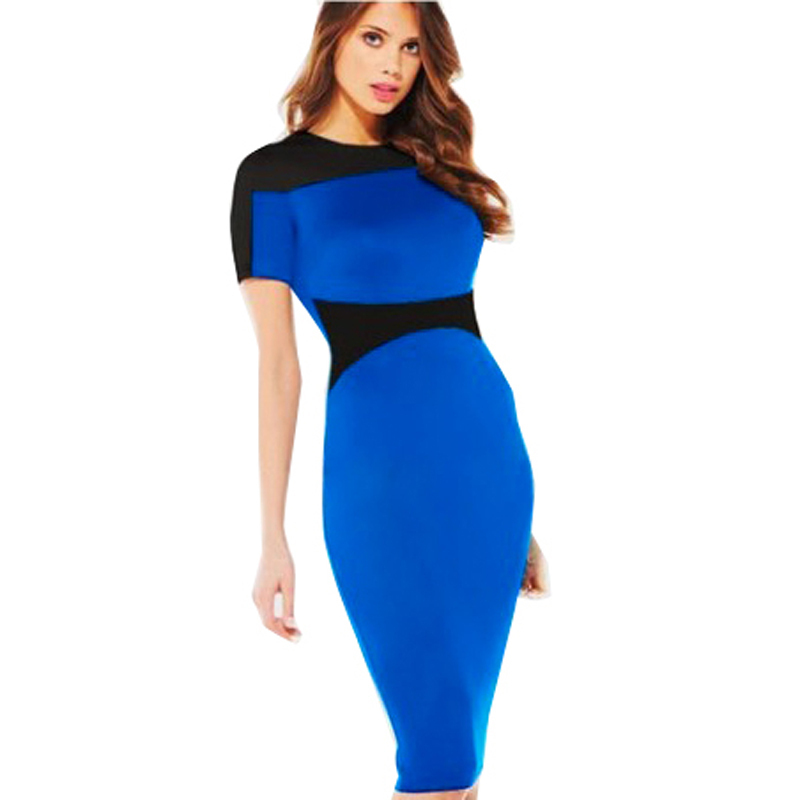 2015 summer Dress Chic Ladies Celeb Evening Fitted Formal Party Pencil Bodycon Colorblock Short sleeve women Dress Free shipping(China (Mainland))