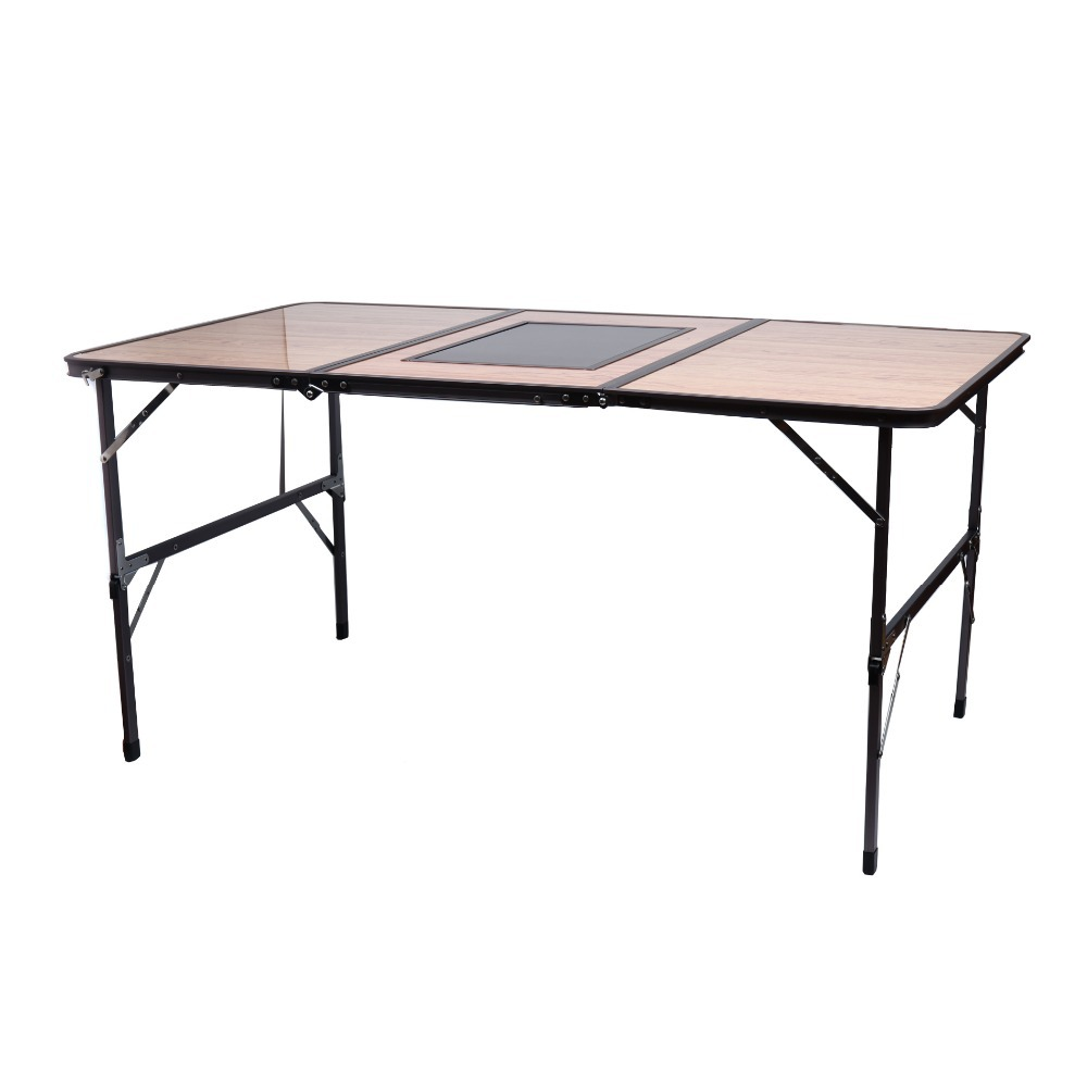 Garden Yard Outdoor Event Party Portable Outdoor Sturdy Portable 3 Side BBQ Quick Folding Table(China (Mainland))
