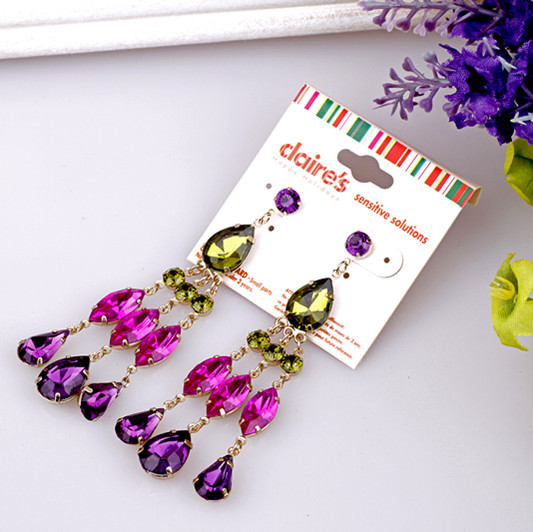 free shipping 3pcs/lot fashion women's jewelry accessories claires multi-colored exaggerated stud earrings(China (Mainland))