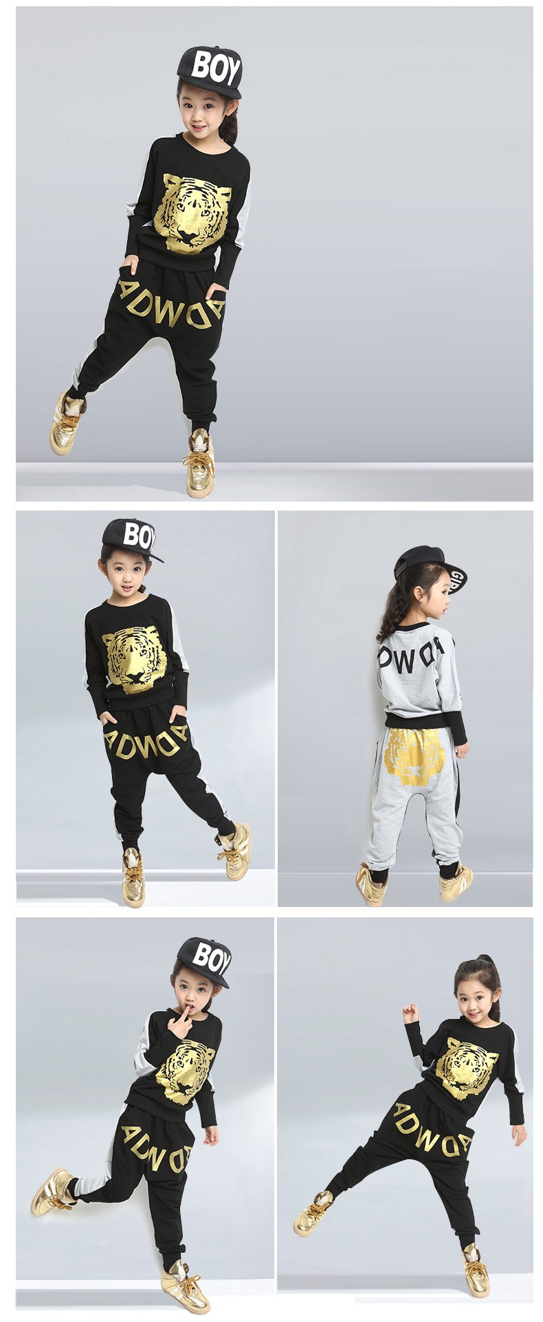 Retail Tiger Print Girls' Clothing Set Spring Autumn New Kids Sports Suit Long Sleeve Top & Harem Pants Sets Hip Hop Clothing