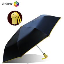 2016 New Fashional creative smile face design handle fully automatic umbrella