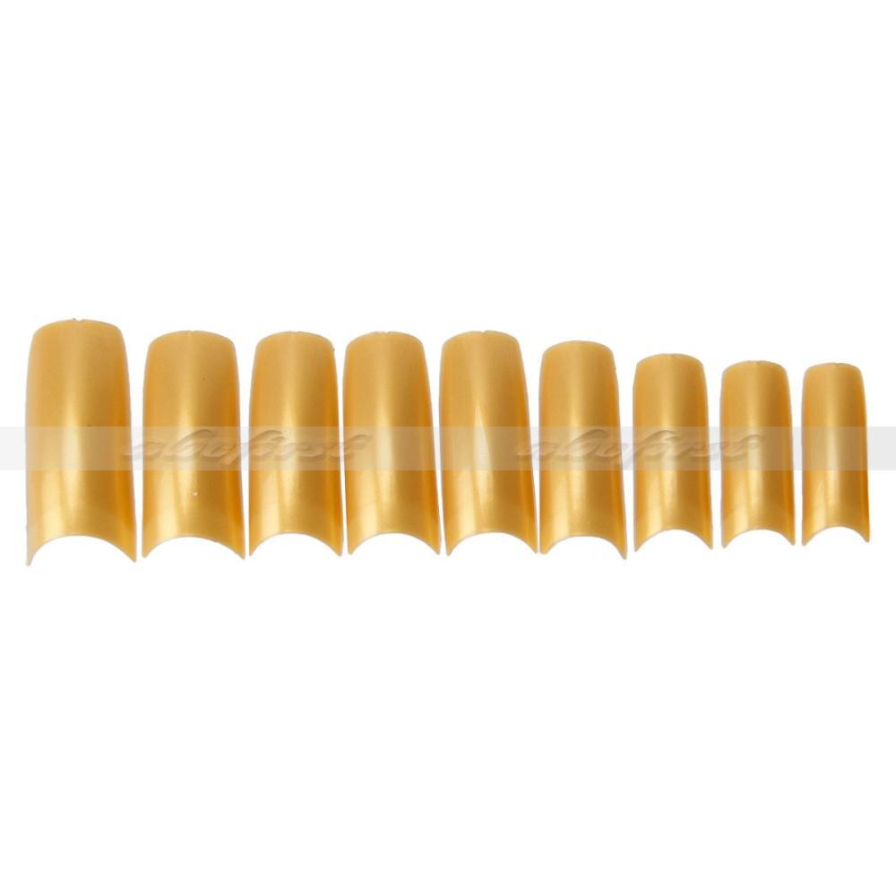 500 Pcs French Style False Fake Acrylic Nails Half Artificial Gold Tips Nail Art Sale Free Shipping(China (Mainland))