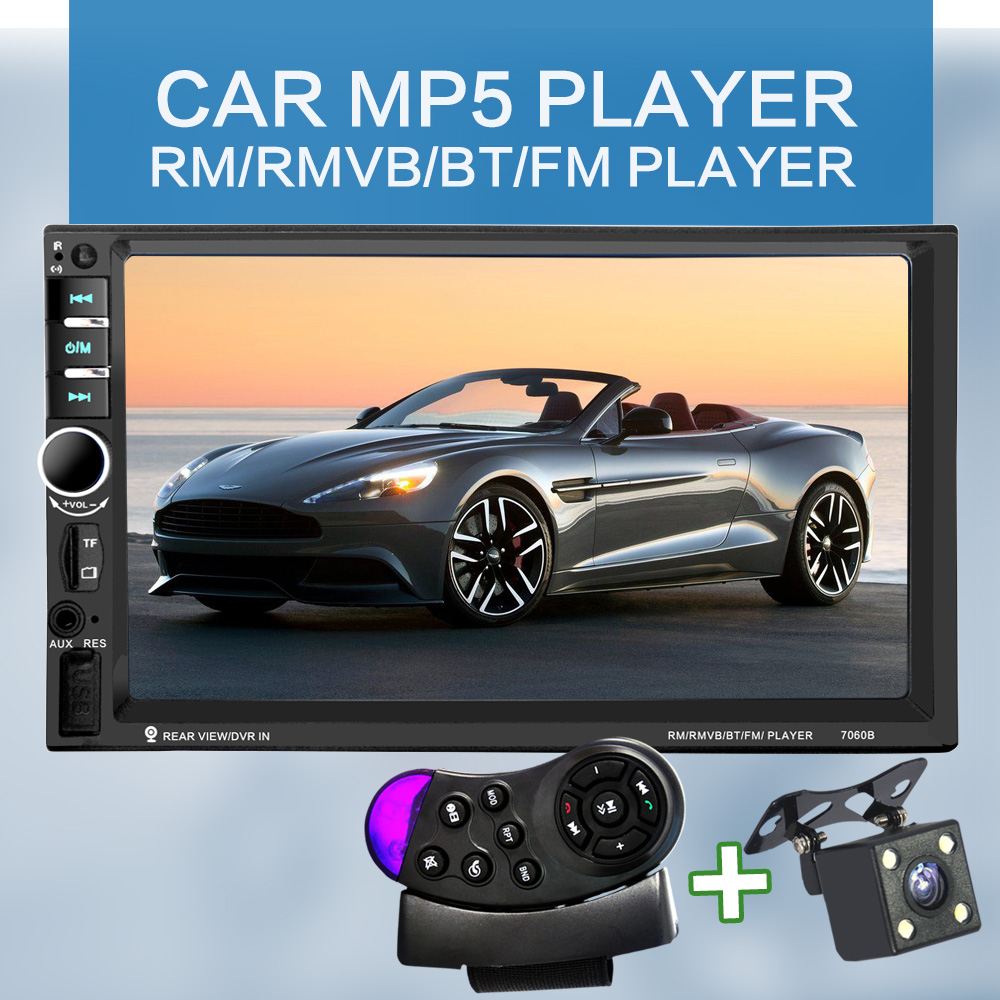 7060B 7 Inch Bluetooth TFT Screen Car Audio Stereo MP4 Player 12V Auto 2-Din Support AUX FM USB SD MMC Support for JPEG,WMA,MP5(China (Mainland))