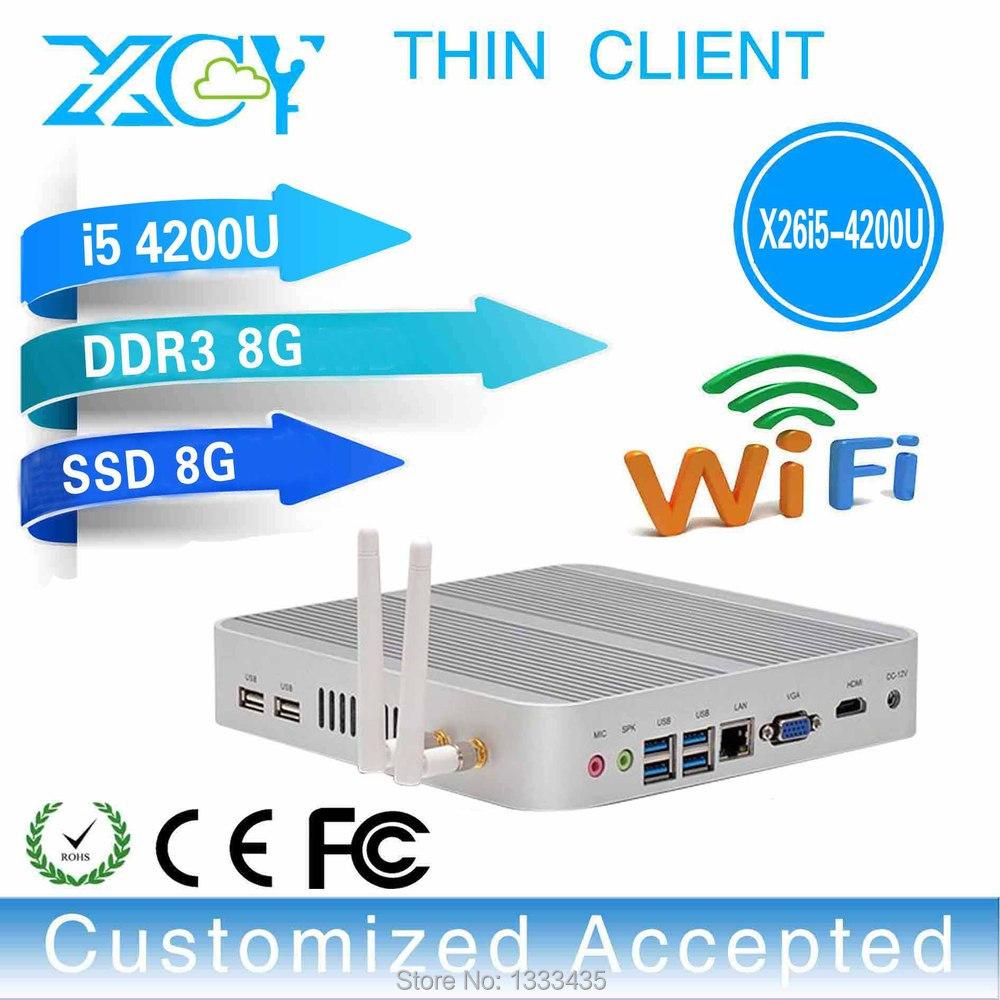 thin client pc share fanless mini pc industrial embedded pc X26-I5 4200u 8GB RAM 8GB SSD support Windows 2000, Windows XP etc.(China (Mainland))