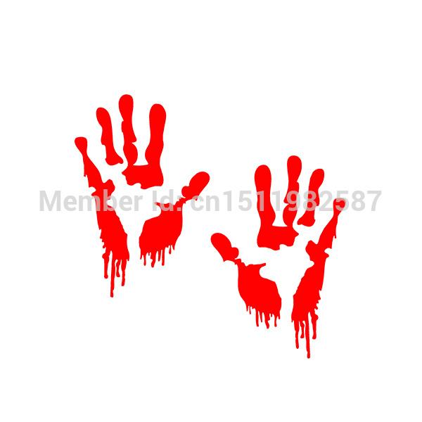 Bloody Zombie Hand Print Sticker Walking Dead Halloween Red Outbreak Funny Car Truck Window Bumper JDM Vinyl Decal * 2(China (Mainland))