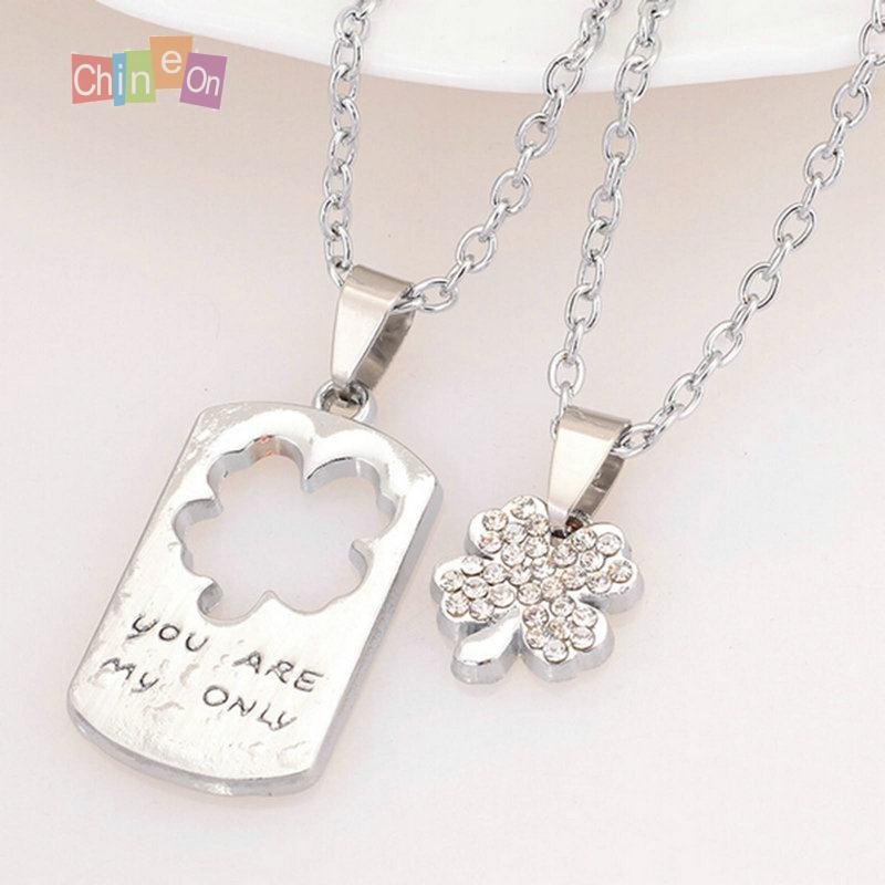 1 Pair Lovers Necklace Stainless Steel Rhinestone Four Leaf Clover Chain Pendant Couple Necklace Silver Color(China (Mainland))