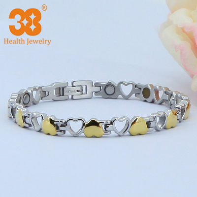 Magnetic Heart Bracelet Gold Plating Classic Love Heart Bracelets For Women Magnet Pure Germanium Stainless Steel Bracelet(China (Mainland))