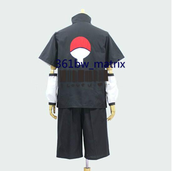 Free Shipping New Anime Naruto Cosplay Costume Uchiha Sasuke Black Halloween Costume One Set Outfit New Drop Shipping(China (Mainland))