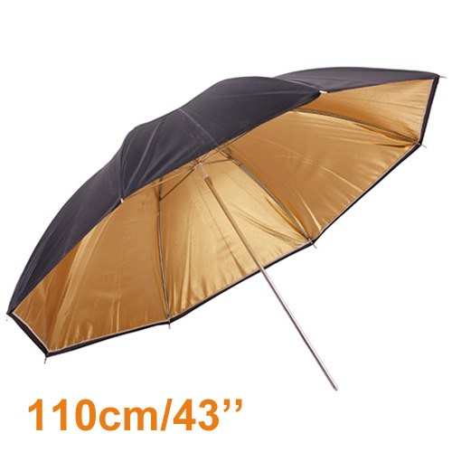 "Inno factory outlet wholesales 43"" 110cm Studio Photography Black Gold Reflector Umbrella photo studio umbrella PSCU5B(China (Mainland))"