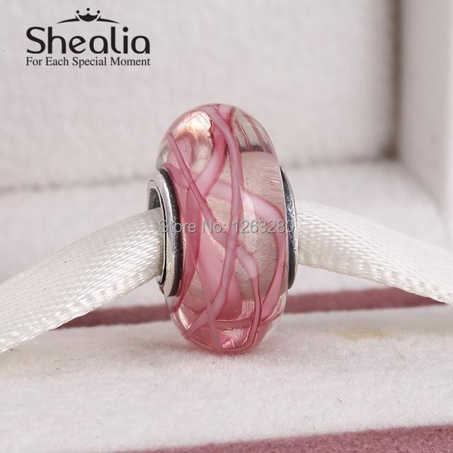 2015 Новый подлинный стерлингового серебра 925 pink ribbon муранского стекла бусы подходит известный бренд diy шарм браслеты Ht313