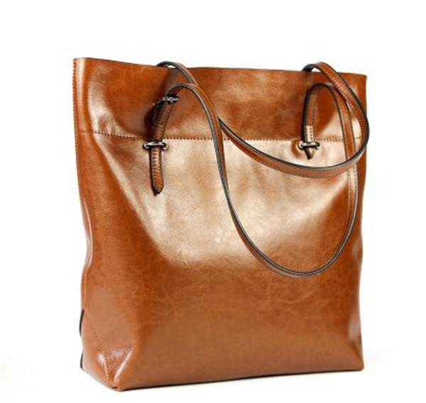 New Casual Women Bag Genuine Leather Tote Multifunction Shoulder Bags European American Style Solid Handbag Slot Zipper Pockets(China (Mainland))