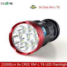 15000 Lumens 9x CREE XML T6 LED Flashlight Torch Hunting Searchlight 3 Modes High power camp lantern Use 18650 battery(China (Mainland))