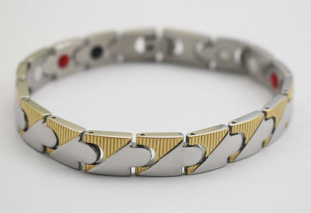 2015 Luxury Stainless Steel 4 in 1 Magnetic Ion Power Wristband Bracelets Wholelsale(China (Mainland))