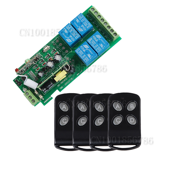 Free Shipping 85v~250V 110V 220V 230V 4CH RF Wireless Remote Control Relay Switch Security System Garage Doors, Electric Doors(China (Mainland))