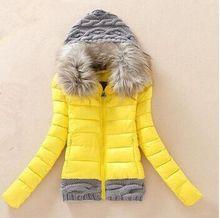 2016 Women Winter Coat Cotton Padded Jacket Short Knitted Hood Fur Collar Womens Winter Jackets and Coats