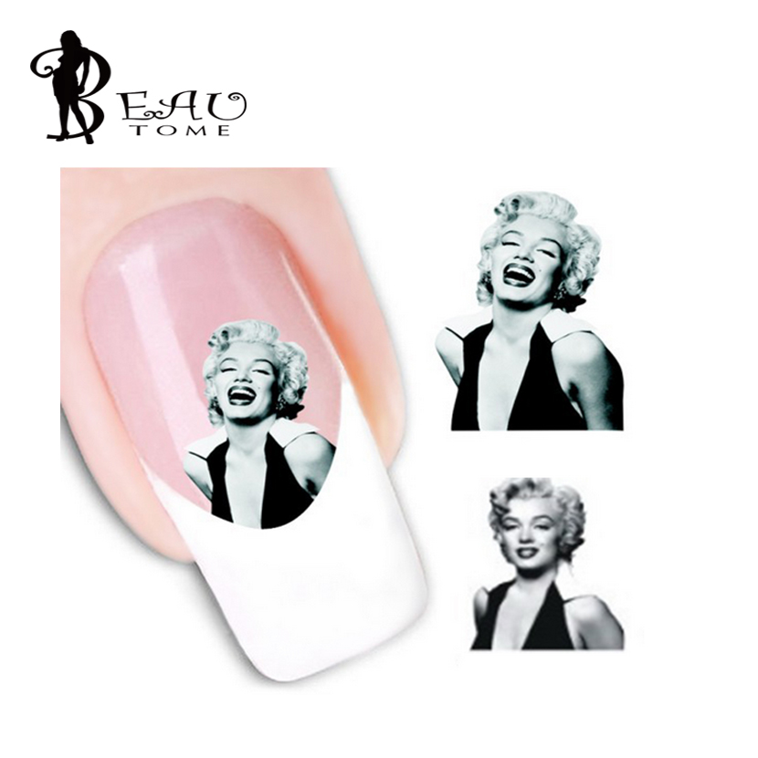 Beautome 1 Sheet Stylish Plum Blossom Marilyn Monroe Image Design Nail Art Water Decals Transfer Stickers for Beauty Tools(China (Mainland))