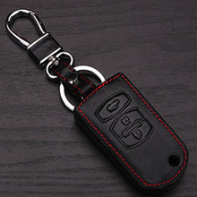 Leather Car Key Case Cover Shell Mazda 3 2 5 6 8 323 626 Atenza Cx5 Cx7 Cx9 Mx5 Rx Holder Wallet Chain - Lu Auto parts shop store