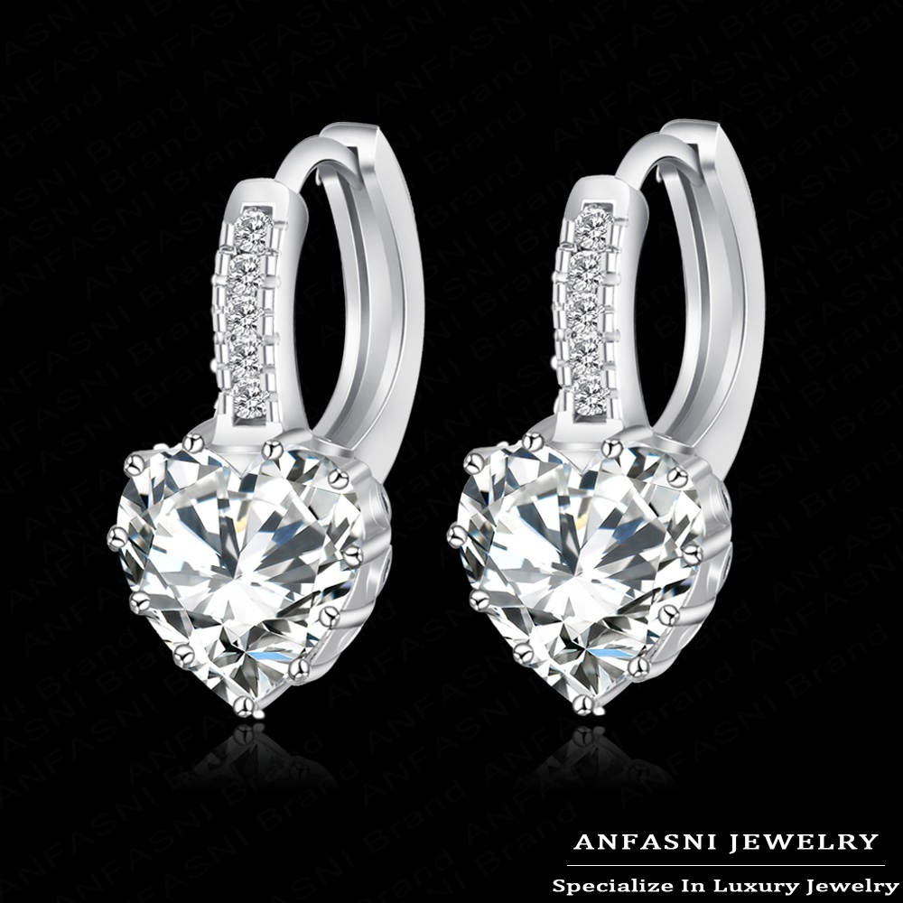 2015 Top Selling Real Platinum Plated Luxury Hoop Earring Inlay Zircon Fashion Brilliant Heart Ladies Wedding Earring CER0151-B(China (Mainland))
